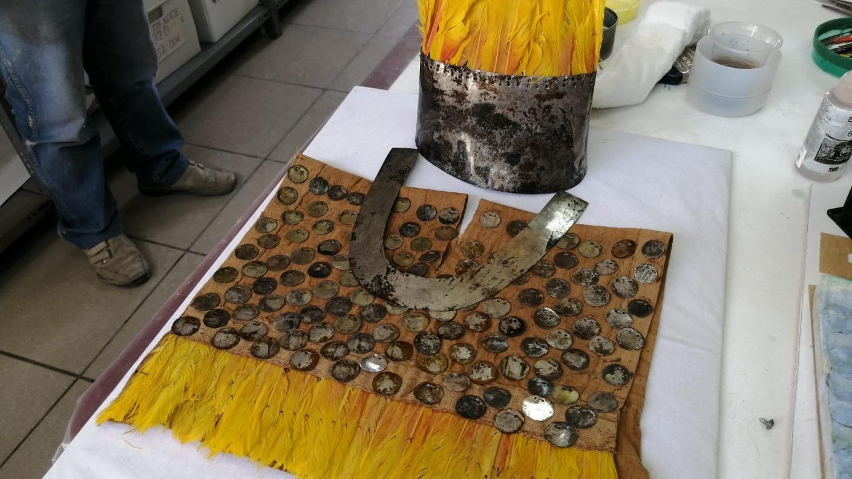 Manto fúnebre de niño que perteneció a la nobleza de la cultura Chimú entre 1250 - 1450 d.c. Aún no está en exhibición, recientemente conservado.