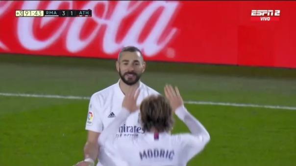 Karim Benzema marcó un doblete en la victoria del REal Madrid ante Athletic Bilbao
