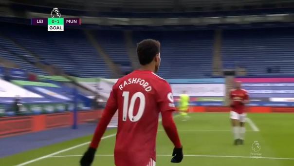 Marcus Rashford anotó el 1-0 de Manchester United sobre Leicester