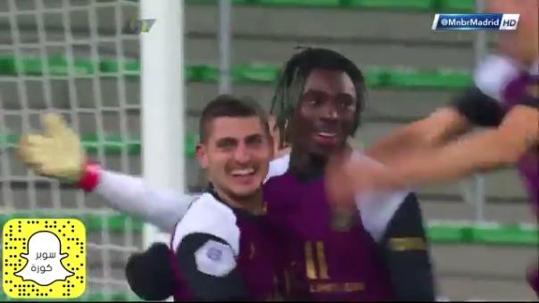 Moise Kean anotó el 1-1 para el PSG ante Saint Étienne