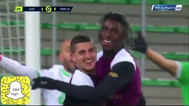 Moise Kean convirtió para el 1-1 de PSG ante Saint Étienne