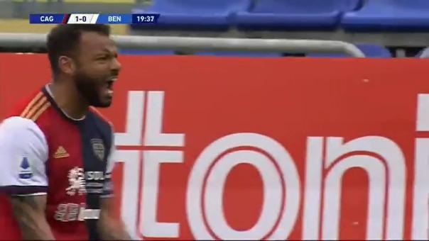 Gol de Joao Pedro para el 1-0 de Cagliari sobre Benevento