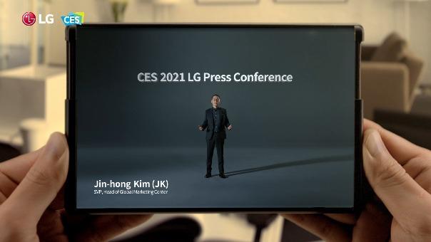 El LG Rollable apareció en el inicio de la conferencia de LG en CES 2021.