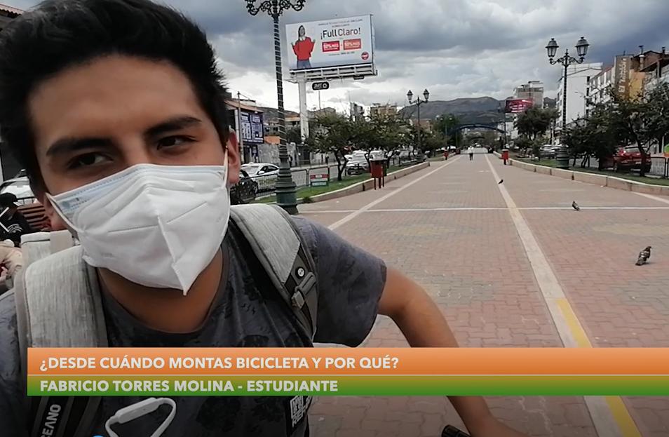 Fabricio Torres Molina, estudiante y ahora ciclista, cuenta su experiencia desde la Alameda Pachacútec.