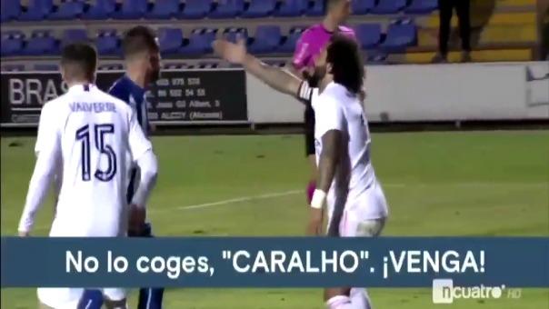 Marcelo y Vinicius Junior en el gol que acabó con el empate de Alcoyano