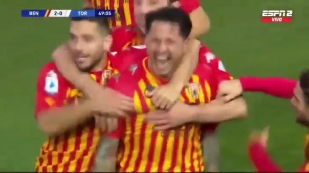 Gol de Gianluca Lapadula para el 2-0 de Benevento ante Torino