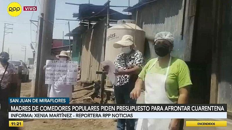 Las madres hicieron un plantón en el asentamiento humano El Trébol, en San Juan de Miraflores.