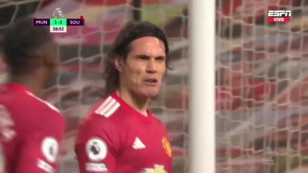 Edinson Cavani marcó el 4-0 ante Southampton