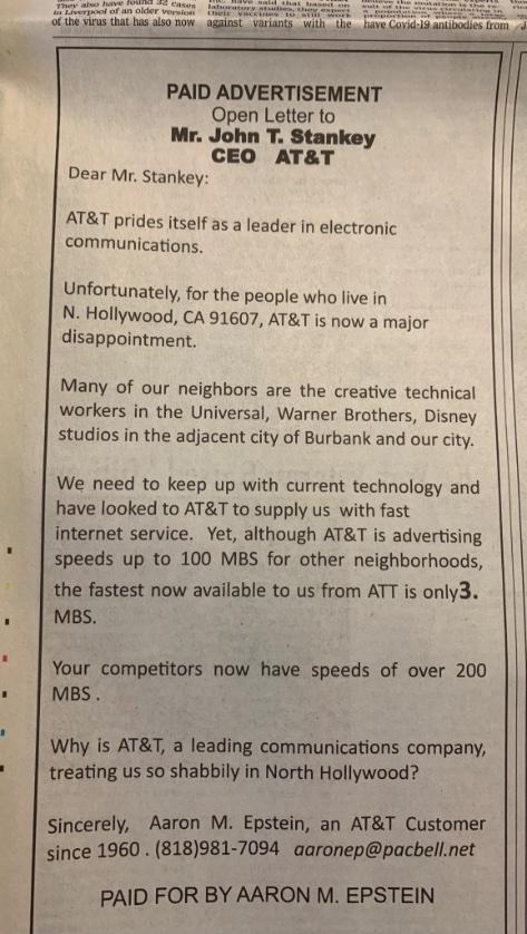 La carta abierta fue dirigida a John T. Stankey, CEO de AT&T.