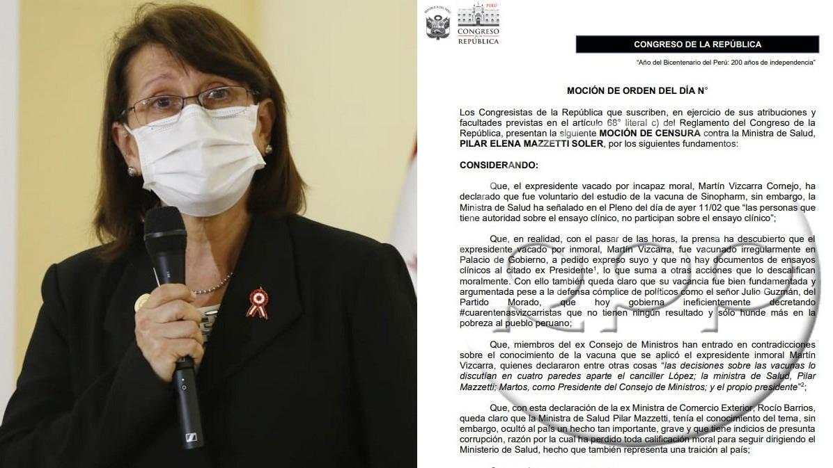 Se redactó moción de censura contra la ministra Pilar Mazzetti.