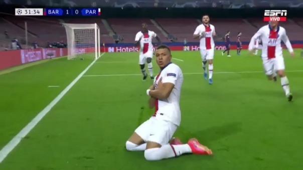 Gol de Kylian Mbappé para el 1-1 de PSG ante Barcelona