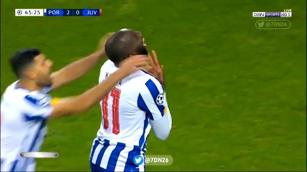 Gol de Moussa Marega para el 2-0 de Porto ante Juventus