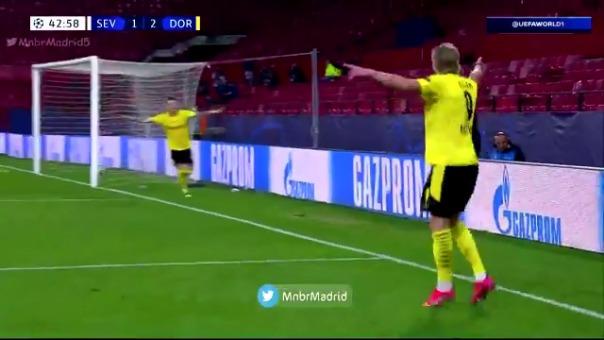 Golazo de Erling Haaland para el 1-3 de Dortmund ante Sevilla