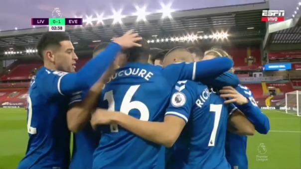 Liverpool 0-1 Everton: así fue el gol de Richarlinson tras pase de James Rodríguez