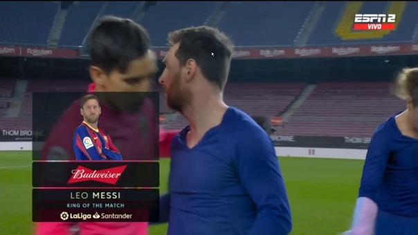Lionel Messi y el '1' de Elche.