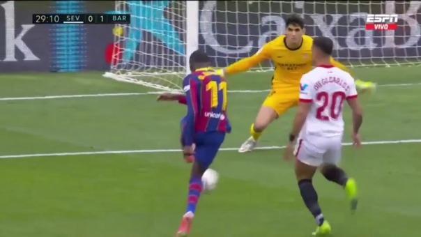 Gol de Ousmane Dembelé para el 1-0 de Barcelona
