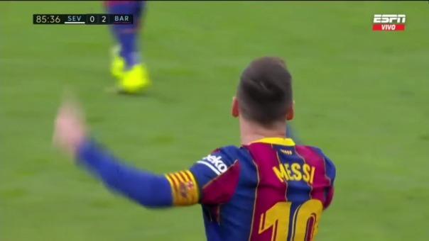 Lionel Messi convirtió el 2-0 del 'Barza' ante Sevilla