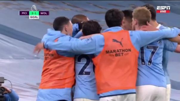 Manchester City 2-1 Wolves: así fue el gol de Gabriel Jesús