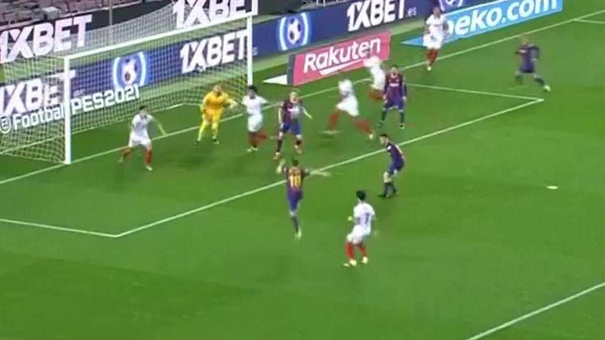 Este fue el remate de Alba en el Barcelona ante Sevilla.