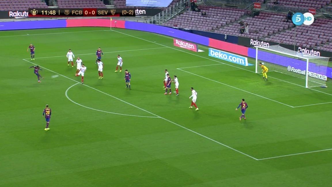 Dembélé y su golazo para 1-0 del Barcelona ante Sevilla.