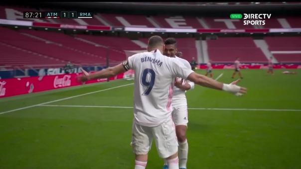 Así fue el gol de Karim Benzema en el Atlético de Madrid 1-1 Real Madrid