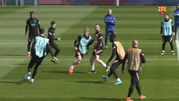 La última práctica del Barcelona previo al duelo contra PSG