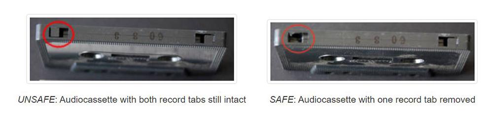 Para evitar accidentes. El sistema de protección de los casetes es simple. La presencia de pestañas de plástico en la parte superior indica que se puede sobrescribir la información. Sacarlas lo evitará.