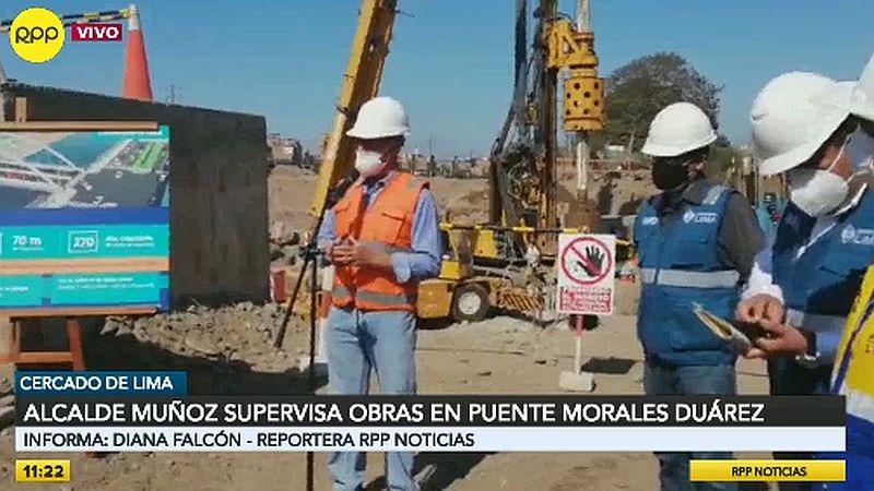 El alcalde de Lima realizó una inspección de las obras del puente Morales Duárez.