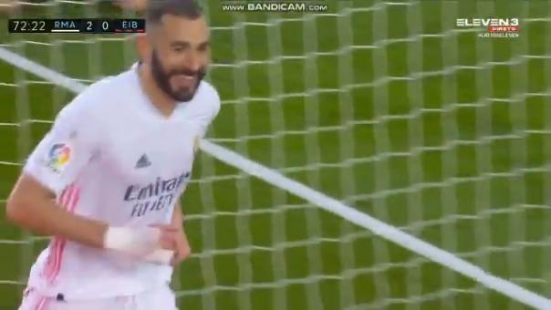 Karim Benzema anotó el 2-0 del Madrid ante Eibar