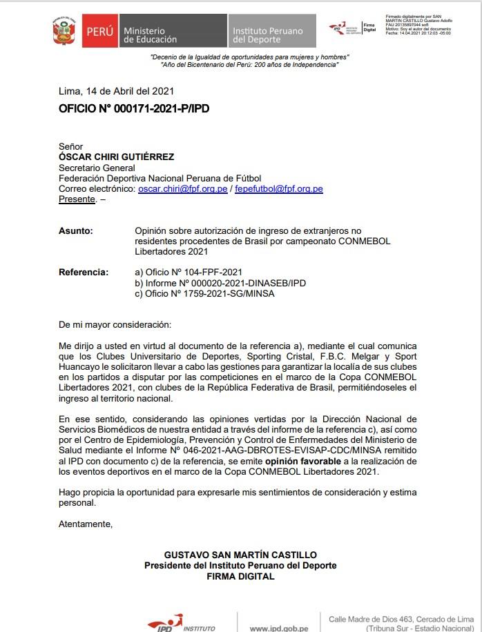 La carta que da vía libre a clubes peruanos a recibir a elencos brasileros.