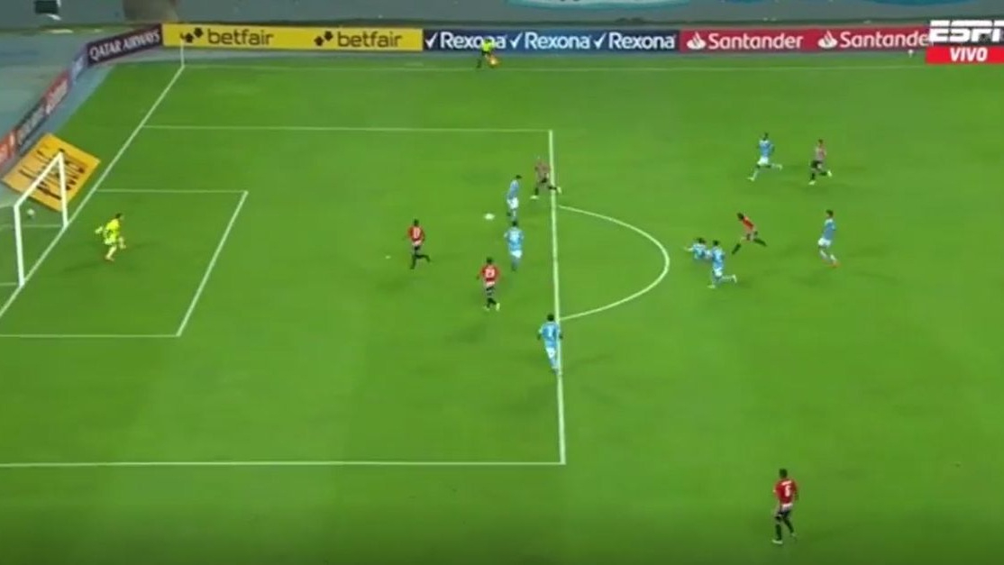 Este fue uno de los goles del Sao Paulo ante Sporting Cristal.