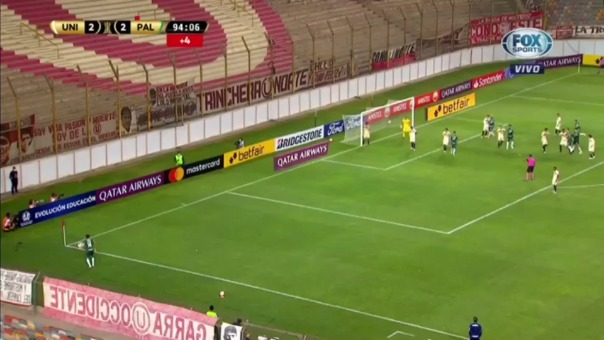 Renan anotó el 3-2 de Palmeiras ante Universitario en el último minuto