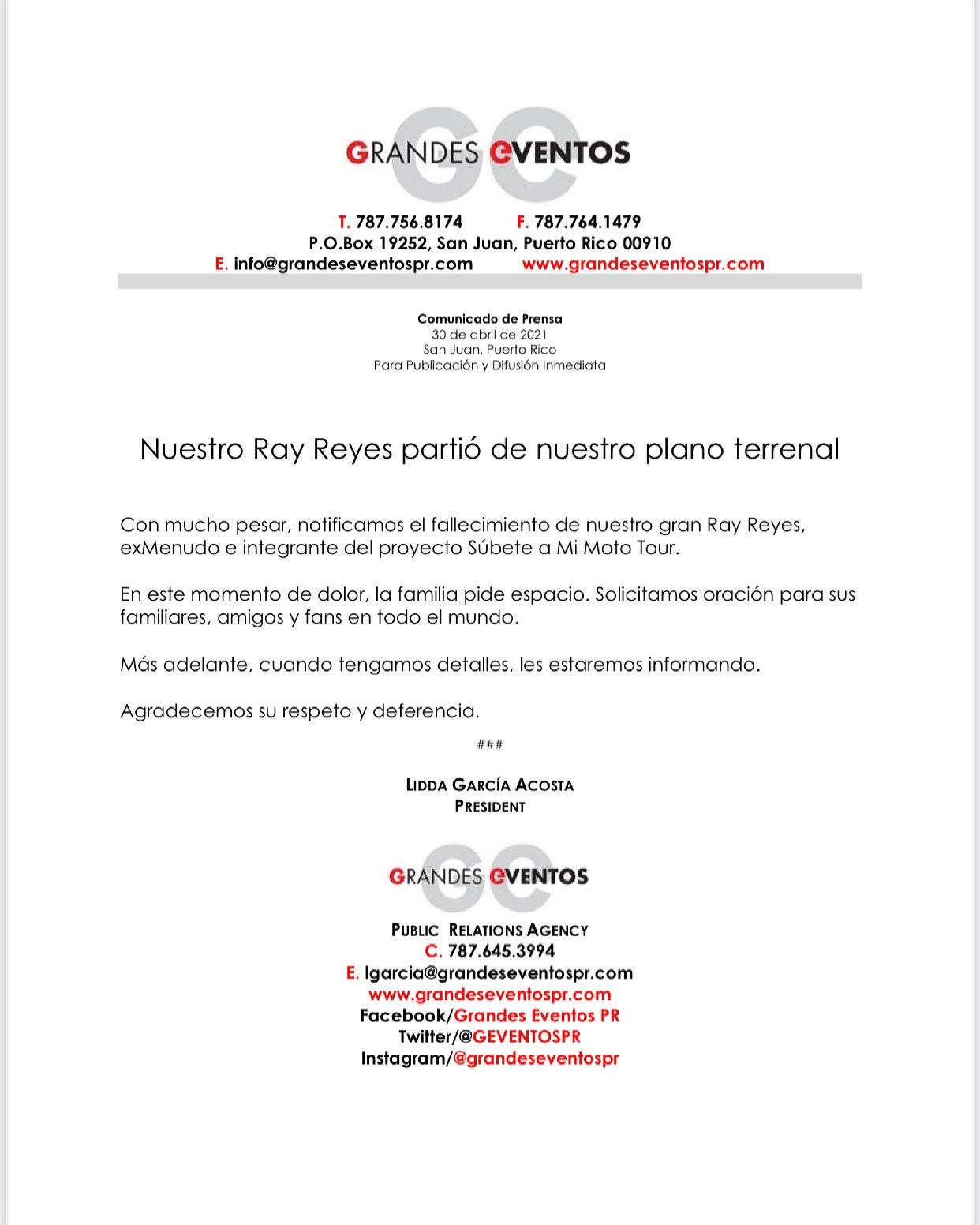Ray Reyes deceso