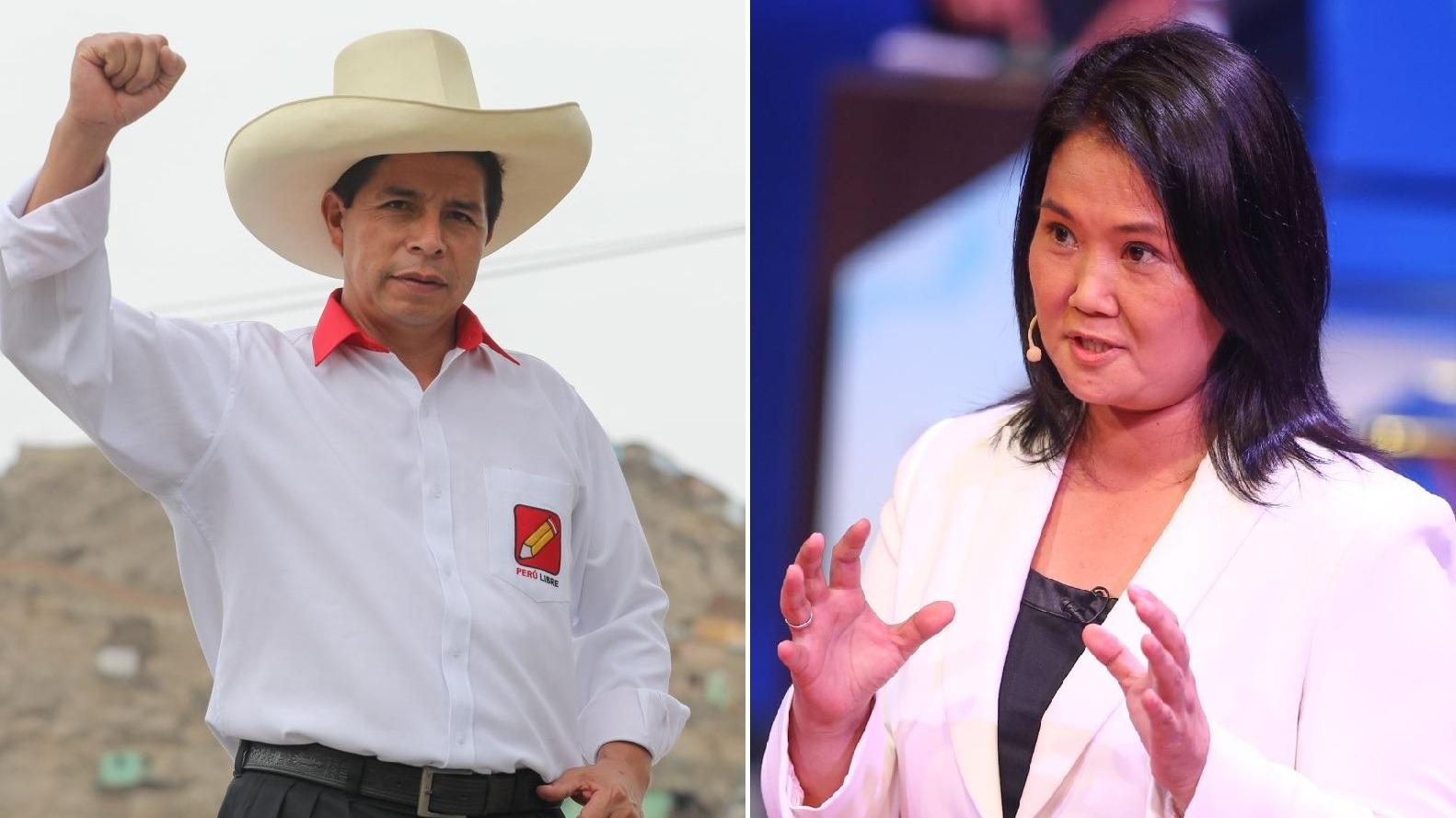 Pedro Castillo y Keiko Fujimori tendrán dos debates oficiales.