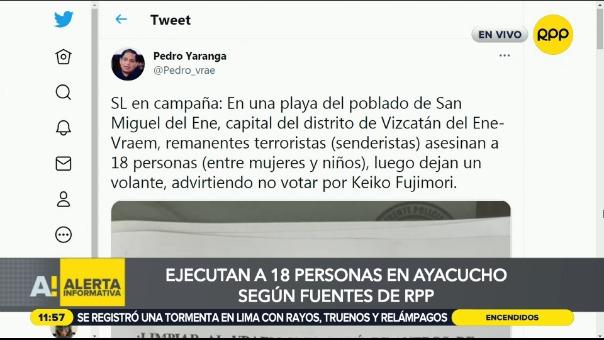 Ejecutan a 18 personas en Ayacucho.