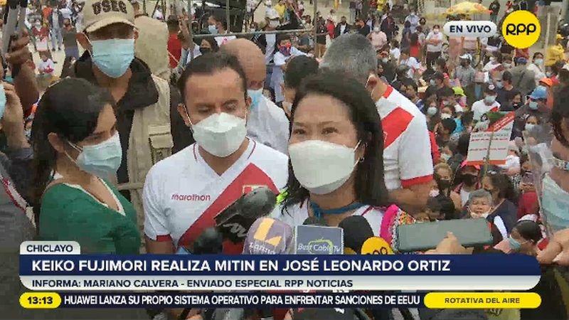 Keiko Fujimori realizó estas declaraciones tras un mitin en Chiclayo.