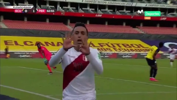 Christian Cueva anotó el 1-0 de Perú ante Ecuador tras pase de Lapadula
