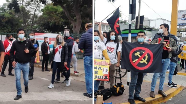 La concentración de manifestantes se dio cerca del Campo de Marte, luego se desplazaron por la avenida 28 de Julio.