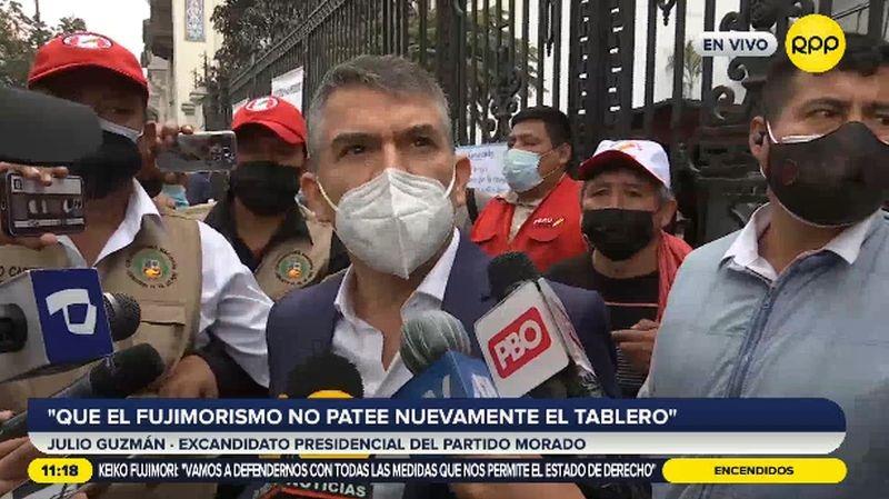 Julio Guzmán declaró a la prensa tras reunirse con Pedro Castillo.