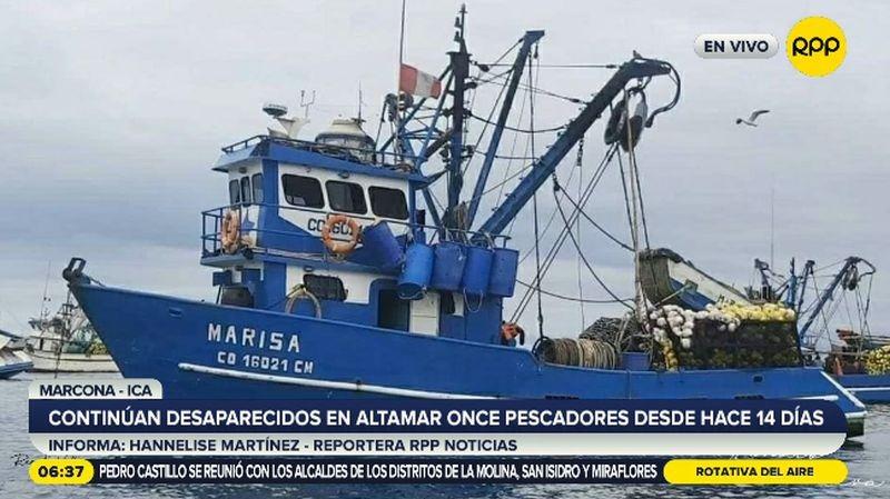 Los pescadores partieron del Puerto de Pisco en la embarcación 'Marisa'.