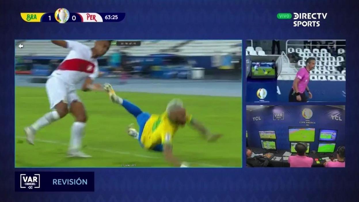Este fue el penal que le anularon a Neymar contra la Selección Peruana.