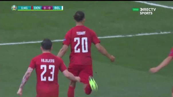 Yussuf Poulsen anotó el 1-0 de Dinamarca ante Bélgica