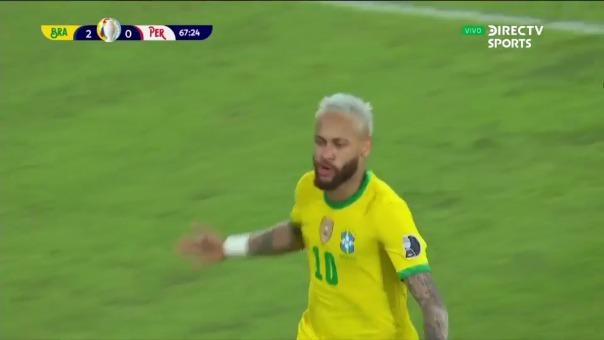 Neymar anotó el 2-0 de Brasil sobre Perú en la Copa América