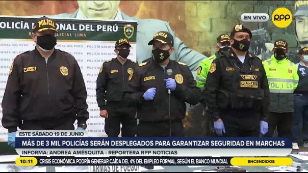 Más de 3 mil policías serán desplegados para garantizar seguridad en marchas este sábado.