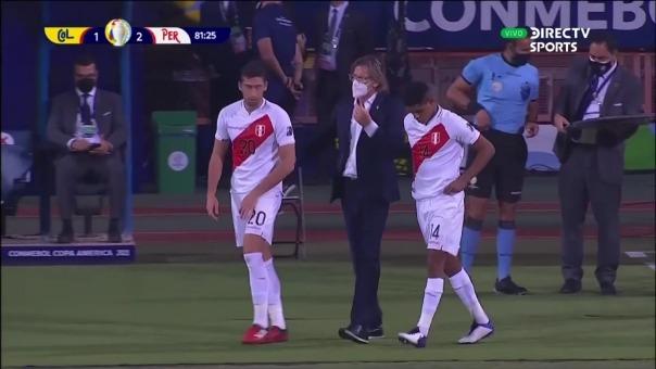 Santiago Ormeño ingresó por Gianluca Lapadula durante el Perú vs Colombia