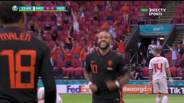 Memphis Depay anotó el 1-0 en el Holanda vs Macedonia Norte