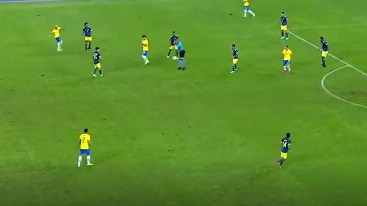 Así fue el gol de Roberto Firmino para 1-1 de Brasil contra Colombia.