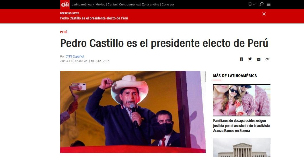 CNN presentaba así el hecho: Pedro Castillo es el presidente electo del Perú