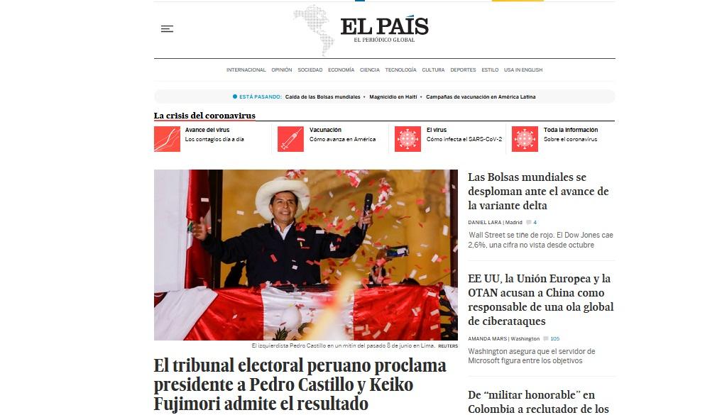 El País, de España, difundió en su portaL: El tribunal electoral peruano proclama presidente a Pedro Castillo y Keiko Fujimori admite el resultado