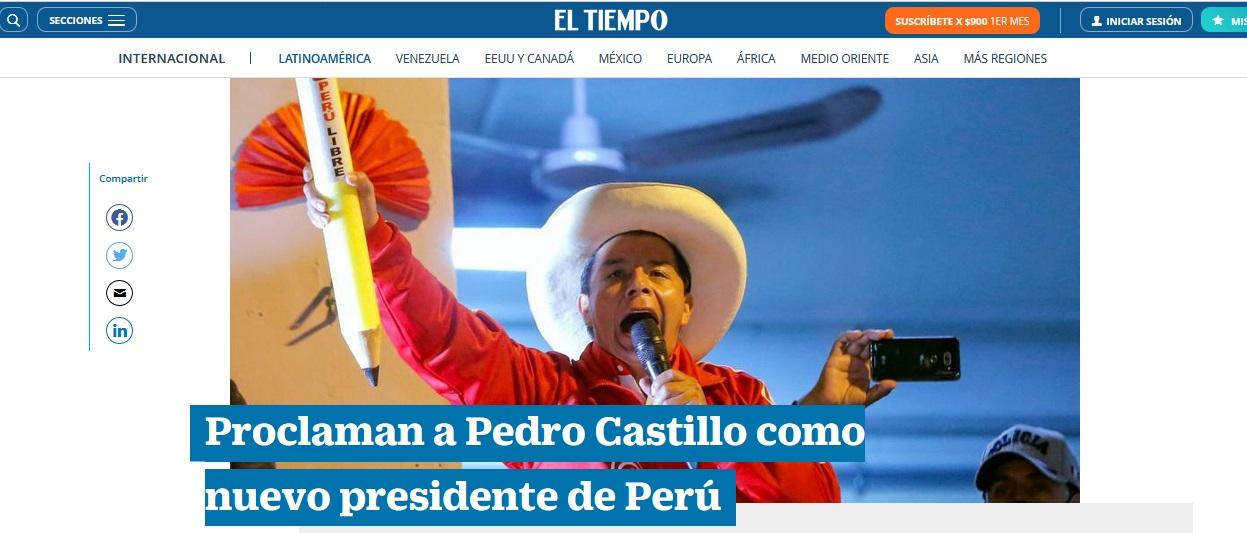 El Tiempo, de Colombia, informó así: Proclaman a Pedro Castillo como nuevo presidente de Perú
